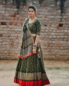 Image may contain: people standing Garba Dress, Navratri Dress, Lehnga Dress, Tunic Designs, Choli Designs, Kurta Designs Women, Indian Bridal Outfits, Indian Designer Outfits, Indian Lehenga