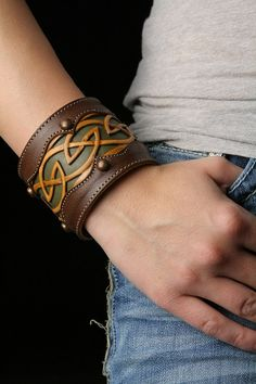 Leather cuff - celtic design :D