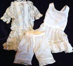 Antique Fanciest 4pc Doll Outfit w Undies 4 French Doll Bru Jumeau Steiner   eBay