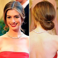 Vintage Hairstyles Red Carpet Updos - HarpersBAZAARUK - Party hair inspiration from the most stylish A-listers Box Braids Hairstyles, Oscar Hairstyles, Vintage Hairstyles, Trendy Hairstyles, Wedding Hairstyles, Red Carpet Hairstyles, Classy Updo Hairstyles, Classic Hairstyles, Bridesmaid Hair