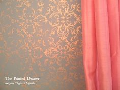 My daughter wanted to re-do her room for a more teenage look.  We decided on Provence blue and gray walls and a gold stencil to add some glam!  The stenciling w…