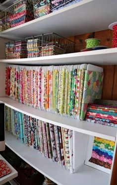 Large Fabric Organizer…some day…The Cottage Mama Sewing Studio. Check out this sewing space!thecottagemam… Large Fabric Organizer…some day…The Cottage Mama Sewing Studio. Check out this sewing space! Craft Room Storage, Sewing Room Storage, Sewing Room Organization, Fabric Storage, Fabric Organizer, Ribbon Storage, Organizing Ideas, Storage Ideas, Studio Organization