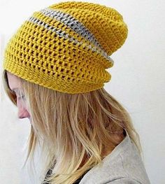 Gorros de ganchillo: Fotos de patrones y diseños - Gorro de ganchillo en color gris y amarillo