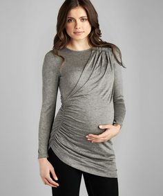{Gray Shimmer Pleated Maternity Top by Expecting Style} So many cute styles for pregnant women today. This is adorable. Jealous.