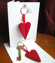 'Key To My Heart' Keyring Card:: packaging idea
