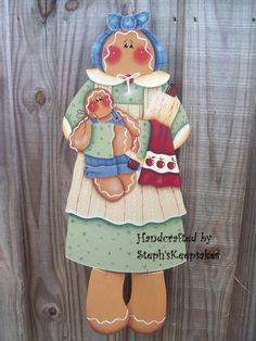 Hand Painted Gingerbread Wall Hanger by stephskeepsakes
