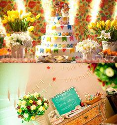 O casamento caipira é sempre tradição nas festas juninas,  A decoração colorida e descontraída, para os convidados aproveitarem a festa no melhor do estilo caipira chique.  O que acham? www.facebook.com/blacktienoivas