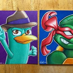 @spookie_taylor_art their awesome illustrations of Perry the Platypus from Phineas and Ferb, and Raphael from Teenage Mutant \ninja Turtles.