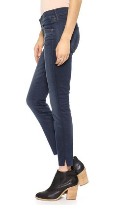 $196 NEW Mother Denim The Vamp Skinny Ankle Slit Jeans in Gift Wrapped Size 26 #motherdenim #skinnyjeans #boutiquedenim