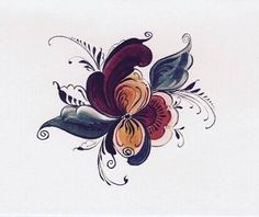 Nordic traditional rosemaling. Could incorporate into my sleeve for color. Considering the right side of my neck as well
