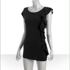 Little Black Dress by Ella Moss! Black Ella Moss dress with long, ruffled, exposed side zipper! Worn once, but there is a very tiny hole in the front, reflected in the price. Perfect for nights out or a party! Ella Moss Dresses
