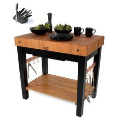 Boos Gathering Block III X Butcher Block Table Wicker - Boos gathering block ii 36x24 butcher block table 2 wicker basket