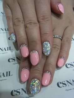 PINK SPARKLE LOVE  #fingernails #nails #nailart