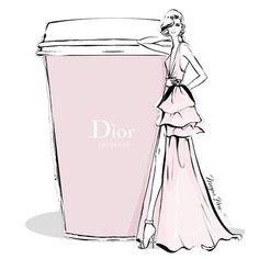 Megan Hess - Monday coffee in chic DIOR pale pink Megan Hess Illustration, Illustration Art, Coffee Illustration, Coffee Cup Art, Coffee Girl, Arte Fashion, Ideias Fashion, Fashion Design, Glamour Moda