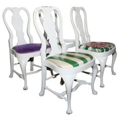 Set of Four Dorothy Draper Side Chairs  U.S.A.  1940's  Set of four Dorothy Draper designed Queen Anne style side chairs. Provenance: Greenbrier Hotel