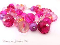 Pink Beaded Bracelet, Cluster Bracelet, Crystal Acrylic Beads, Chunky Jewery, Pink Bracelet, Pink Wedding Jewelry by CameronsJewelryBox on Etsy https://www.etsy.com/listing/96452371/pink-beaded-bracelet-cluster-bracelet