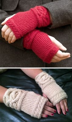 Free Knitting Pattern for Garter Cable Wristlets Fingerless mitts knit flat from side to side in garter stitch and cables at wrist and fingers. Sizes Adult S/M (L). Designed by Amy LoberWinter Serenity - The set consists of: Knitted hat with garter stitch Fingerless Gloves Knitted, Knit Mittens, Knitting Socks, Knitted Hat, Knitting Patterns Free, Free Knitting, Crochet Patterns, Free Pattern, Crochet Gloves Pattern