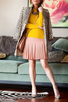 (Outfit Of The Yesterday) Snow Leopard + Blush Pink + Mustard Yellow + Chambray (& Ann Taylor's Liz Zipper Hair Calf Heels + J Crew's Pleated Lace Skirt) (via Bloglovin.com )