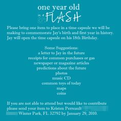 time capsule info card- 1st birthday idea. Love this party idea too