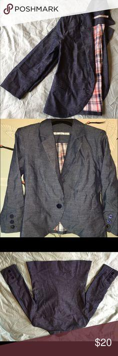 Gibson 3/4 sleeve blazer jacket Gibson 3/4 sleeve jean blazer size xs cotton polyester blend Gibson Jackets & Coats Blazers