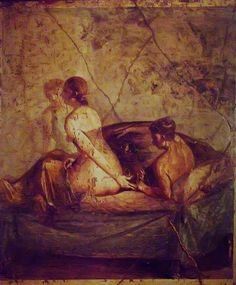 Erotic Roman fresco from Pompeii locked away in the 'Secret Room' of the Museo Archaeologico di Napoli 1st century BCE-1st century CE