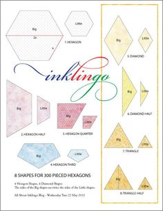 8 Inklingo Shapes for Pieced Hexagons