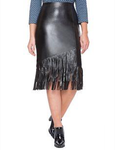 Studio Faux Leather Fringe Skirt from eloquii.com