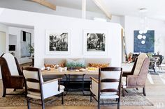 Mixed seating at a dining table with modern architecture