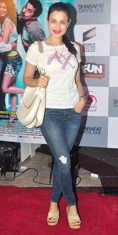 Ameesha Patel at the special screening of 'Sharafat Gayi Tel Lene'. #Bollywood #Fashion #Style #Beauty