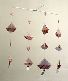 Origami Sail Boats Mobile on a cross Hanger by OrigamiMobilesUK on Etsy…