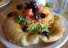I have heard Navajo fry bread is delicious. Navajo Fry Bread Recipe, Indian Fry Bread, Indian Taco Recipe, Whats Cooking America Fried Bread Recipe, Bread Recipes, New Recipes, Baking Recipes, Favorite Recipes, Indian Taco Recipes, Mexican Food Recipes, Mexican Salads, I Love Food