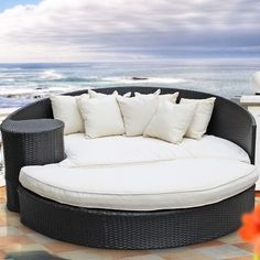 Modway Taiji Outdoor Daybed with Ottoman & Cushion F Rattan Daybed, Patio Daybed, Outdoor Daybed, Outdoor Wicker Furniture, Daybeds, Porch Bed, Outdoor Lounge, Daybed Sets, Design Your Own Home