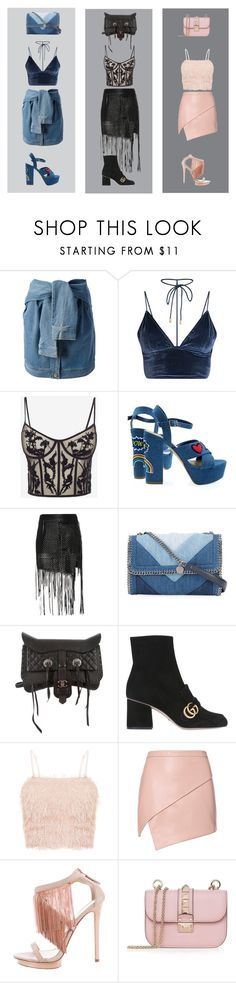 """""""3 festival looks"""" by sascha-haarup on Polyvore featuring DKNY, Alexander McQueen, Magda Butrym, STELLA McCARTNEY, Chanel, Gucci, Michelle Mason, B Brian Atwood and Valentino"""