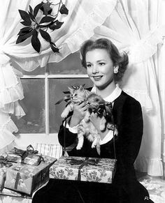 Vintage Christmas Starlets:  Piper Laurie.  With An Armful Of Bow-Wearing Kittens.