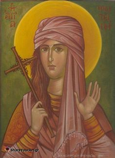 """St Photini -the Samaritan Woman at Jacob's Well: When emperor Nero heard that his own daughter had been converted to Christianity, he condemned Photini & all her companions to death by fire. For 7 days the furnace burned, the fire had not harmed the saints. Next the emperor tried to destroy the saints with poison, Photini offered to be the first to drink it. """"O King,"""" she said, """"I will drink the poison first so that you might see the power of my Christ & God."""" The saints survived..."""