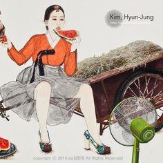 한지 위에 수묵담채, 콜라쥬  Color and collage on Korean paper  紙本淡彩, 拼贴艺术