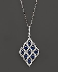"""Diamond and Sapphire Pendant Necklace in 14K White Gold, 19""""   Bloomingdale's"""
