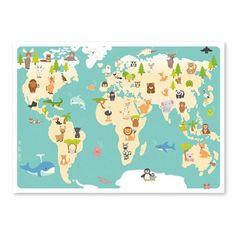 Flot atlas plakat med dyr, der viser hvor de bor i verden. Plakaten er fra Studio Circus og er de fineste douce farver. Køb Studio Circus børneplakater og illustrationer her.