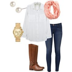 A fashion look from October 2012 featuring J Brand jeans, Tory Burch boots y Michael Kors watches. Browse and shop related looks.