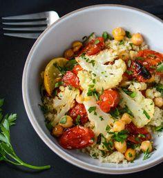 Roasted Cauliflower Bowl with Lemon & Tahini Dressing by elissagoodman #Salad #Cauliflower #Lemon #Tahini #Healthy