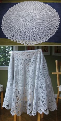 Free Knitting Pattern for EZ Anniversary PI Shawl: Camping - This shawl by Mwaa Knits is a tri Circular Knitting Patterns, Shawl Patterns, Baby Knitting Patterns, Lace Knitting, Crochet Baby Shawl, Crochet Round, Crochet Tablecloth, Lace Doilies, Knitting Accessories