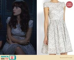 7503a0eab8 Jess s white and silver lace dress on New Girl