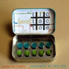 Magnetic Tic Tac Toe board out of an Altoids box for kids while waiting. Great to just stick in your purse
