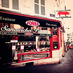 Montmartre - Paris prints, Paris Cafes, Etsy Wall Art -  The Cafes of Montmartre - Paris photography, crimson home decor, kitchen art. $72.00, via Etsy.