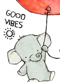 Good vibes  Cute elephant drawing