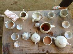 tea mugs, cups, and pots