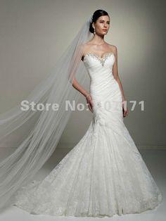 *******Aliexpress.com : Buy Delicate Sweetheart Mermaid Corset Back Rhinestones Ruffle Lace Wedding Dress 2013 from Reliable lace back wedding dress suppliers on Dreamy Life $253.86
