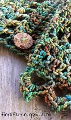 Earth Fairy Button Cowl, free crochet pattern from Fiber Flux