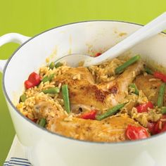 Spicy Coconut Chicken Casserole Recipe Main Dishes with olive oil, chicken legs, coarse salt, ground pepper, light coconut milk, reduced sodium chicken broth, Thai red curry paste, jasmine rice, red bell pepper, green beans, lemon