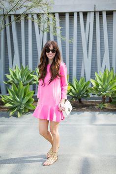 long sleeve hot pink ruffle hem dress on M Loves M fashion blogger @marmar